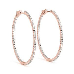 2 inches Large inside out diamond hoop earrings Ro